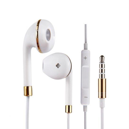 Valkoiset kuulokkeet In-Ear Kaukosäätimellä & Mikrofonilla - iPhone, Samsung, HTC, Sony jne.